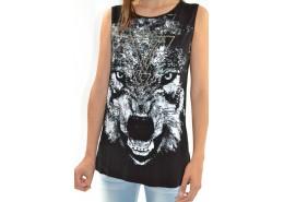 Tee-shirt loup imprimé sans manches dos nu