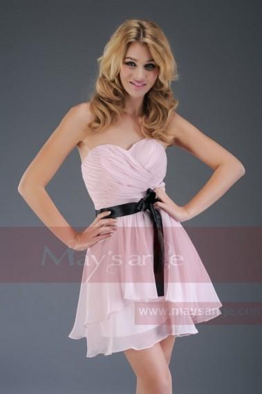 Robe de soirée bustier courte C309  rose parme - C309 #2